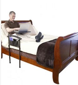 Bed Rail Features Multi-Use Bedside Tray and Standing Assistance